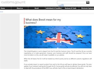 Malta Customs - official website- BREXIT