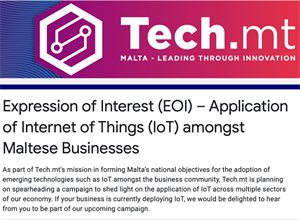 Expression of interest - Application of Internet of Things amongst Maltese Businesses